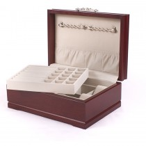 American Cherry Hardwood Jewelry Chest w/Heritage Mahogany Finish