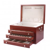 Solid American Cherry Hardwood Jewelry Chest w/ Heritage Cherry Finish