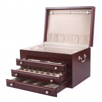 Solid American Cherry Hardwood Jewelry Chest with Rich Mahogany Finish