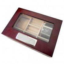 Dual Watch & Five Cufflinks Box in Walnut Wood