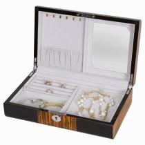 Unisex Jewelry Box in Ebony Wood w Bubinga & 2 Lift-out Sections