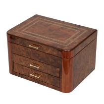 Elm Burl Hardwood Jewelry Chest w Double Braided Accent