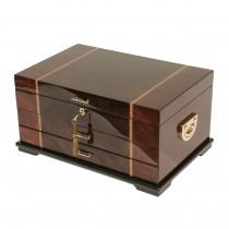 Rustic Burl w Dark Walnut Inlay & Scrolled Accents Jewelry Box