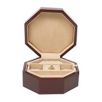 Octagon-shape Mahogany Mini Jewelry Box w Lift-out Compartment