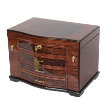 Burlwood Inlay Jewelry Chest w Necklace Hooks & Espresso Faux Suede