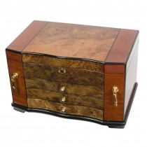 Elm Burl Inlay Bubinga Jewelry Chest w Multiple Compartments