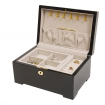 Multi-Tone Italian Inlay Scrolled Border Jewelry Box Black Enamel