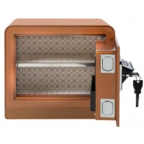 Electronic Digital Keypad Lock Jewelry Safe w/ Key in Amber