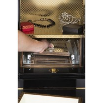 Electronic Fingerprint Lock Jewelry Safe w Key Override in Black
