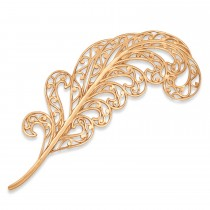 Filigree Feather Brooch Pin Metal 14k Rose Gold