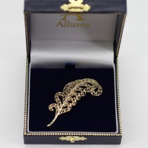 Filigree Feather Brooch Pin 14k Yellow Gold