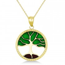 Green Enameled Tree of Life Pendant Necklace 14k Yellow Gold