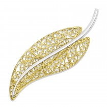 Filigree Leaf Brooch Pin 14k Two Tone Gold