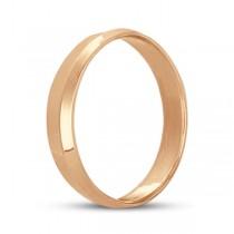 Knife Edge Wedding Ring Band Comfort-Fit 14k Rose Gold (4mm)