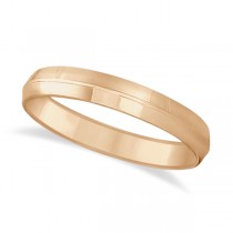 Knife Edge Wedding Ring Band Comfort-Fit 18k Rose Gold (4mm)