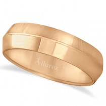 Knife Edge Wedding Ring Band Comfort-Fit 14k Rose Gold (6mm)