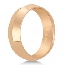 Knife Edge Wedding Ring Band Comfort-Fit 18k Rose Gold (6mm)