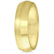 Knife Edge Wedding Ring Band Comfort-Fit 18k Yellow Gold (6mm)