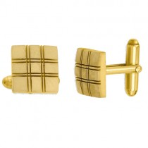 Square Double Lines Cuff Links Plain Metal Gold Over Sterling Silver