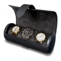Rapport London Black Leather Three Watch Roll