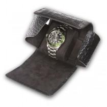 Rapport London Single Watch Roll with Crocodile Pattern Black Leather