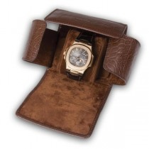 Rapport London Single Watch Roll with Crocodile Pattern Brown Leather