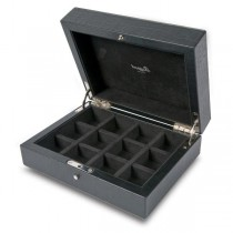 Rapport London Cufflink Box in Crocodile Patterned Black Leather