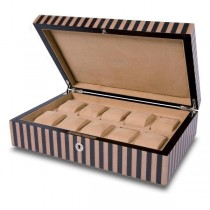 Rapport London Ten Watch Box in Black and Tan Striped Wood