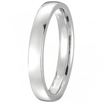 14k White Gold Wedding Ring Low Dome Comfort Fit (3mm)
