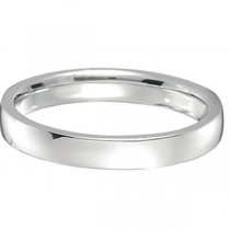 18k White Gold Wedding Ring Low Dome Comfort Fit (3mm)|escape
