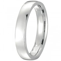 14k White Gold Wedding Ring Low Dome Comfort Fit (4 mm)
