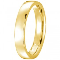14k Yellow Gold Wedding Ring Low Dome Comfort Fit (4 mm)