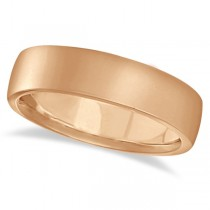 Low Dome Comfort Fit Wedding Ring For Men 14k Rose Gold (5mm)