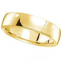 14k Yellow Gold Wedding Ring Low Dome Comfort Fit (5 mm)