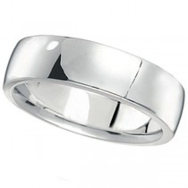 Men's Wedding Ring Low Dome Comfort-Fit in 14k White Gold (6mm)