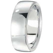 Men's Wedding Band Low Dome Comfort-Fit in 14k White Gold (7 mm)