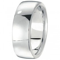Men's Wedding Band Low Dome Comfort-Fit in 18k White Gold (7 mm)