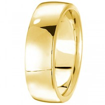 Men's Wedding Band Low Dome Comfort-Fit in 18k Yellow Gold (7 mm)