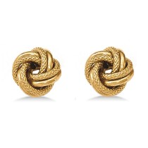 Double Row Textured Love Knot Stud Earrings 14k Yellow Gold