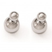 Polished Front-Back Ball Style Fine Stud Earrings 14k White Gold