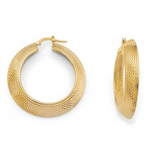Polished and Textured Design Hoop Earrings 14K Yellow Gold