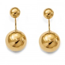 Front-Back Highly Polished Ball Stud Earrings 14k Yellow Gold