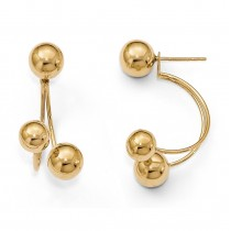 Polished Tri Ball Front-Back Fine Fashion Earrings 14k Yellow Gold