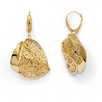 Polished Filigree Twist Fine Fashion Earrings 14k Yellow Gold