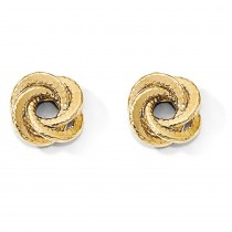 Double Row Textured Love Knot Post Earrings 14k Yellow Gold