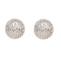 Textured Round Dome Fine Stud Earrings 14k White Gold