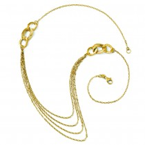 Ladies Fashion Four Layer Cable Necklace Chain 14k Yellow Gold