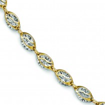 Polished & Diamond Shaped Ladies Illusion Bracelet 14k Two-Tone Gold