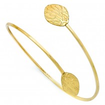 Textured, Polished & Brushed Flexible Bangle Bracelet 14k Yellow Gold