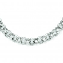 Polished & Textured Triple Rolo Link Chain Ladies Necklace 14k White Gold